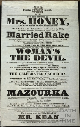 Playbill at Theatre Royal, Bath for January 5 1839