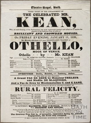 Playbill at Theatre Royal, Bath for January 11 1839