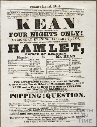 Playbill at Theatre Royal, Bath for January 21 1839