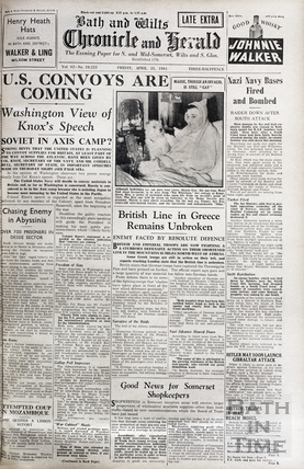 The front cover of the Bath and Wilts Chronicle and Herald, Friday April 25 1941