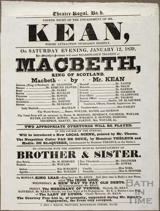 Playbill at Theatre Royal, Bath for January 12 1839