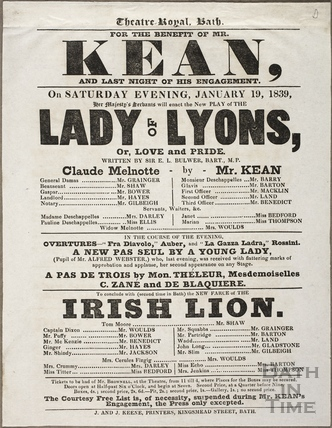 Playbill at Theatre Royal, Bath for January 19 1839