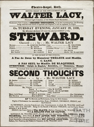 Playbill at Theatre Royal, Bath for January 29 1839