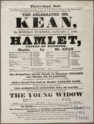 Playbill at Theatre Royal, Bath for January 7 1839
