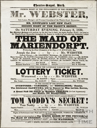 Playbill at Theatre Royal, Bath for February 9 1839