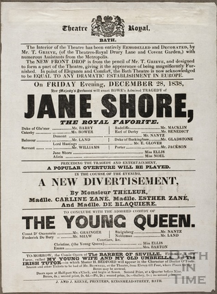 Playbill at Theatre Royal, Bath for December 28 1838