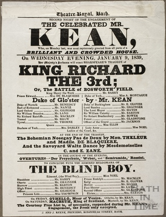 Playbill at Theatre Royal, Bath for January 9 1839
