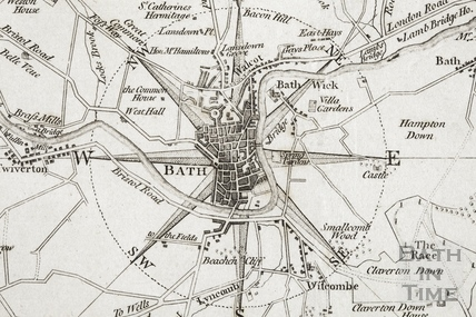 An Improved Map of the Villages, Roads, Farm Houses etc Five Miles round the City of Bath (city centre) 1787 - detail