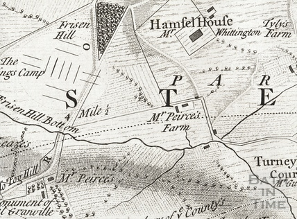 Thos Thorpe Map of 5 miles round Bath, Hamswell, Jerry Peirce's Farm and home at Lilliput Castle, Freezing Hill and Whittington Farm 1742 - detail