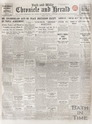 The front cover of the Bath and Wilts Chronicle and Herald, Tuesday April 2 1940