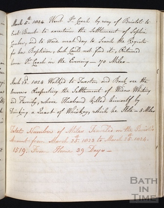 A page from the journey log of John Curry, overseer of the Parish of Walcot c.1811
