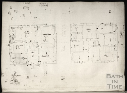 Plan of two floors of an unidentified building by John Wood c.1737