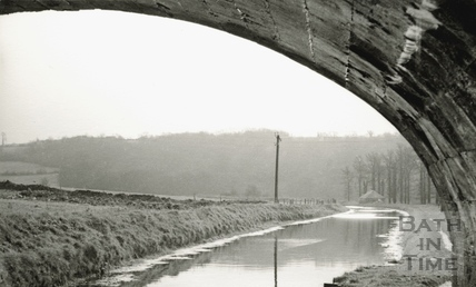 View from under a stone bridge on the Kennet and Avon Canal, Limpley Stoke c.1930
