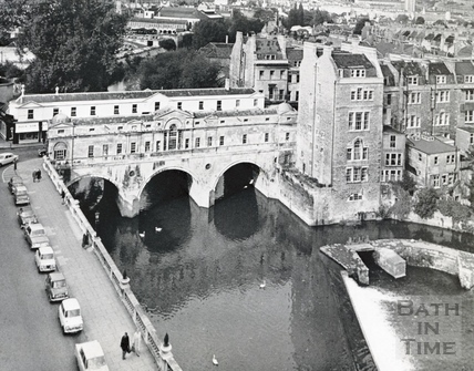 View of Pulteney Bridge and the old weir on the river Avon c.1964