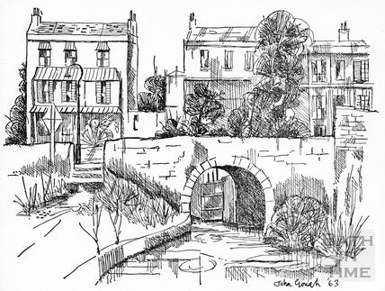 Canal study, Widcombe and the Kennet and Avon Canal, Bath 1963