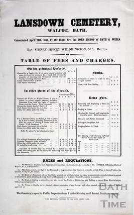 Lansdown Cemetery, Table of Fees and Charges, consecrated April 28th 1848