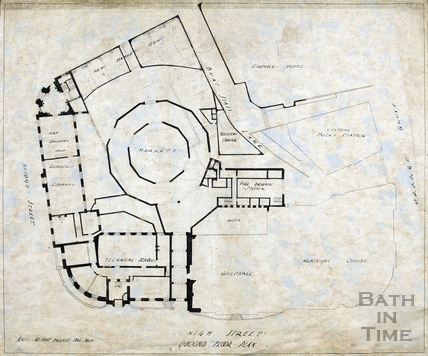 Plan of buildings around Guildhall - Technical Schools, Victoria Art Gallery, Markets, New Market Row, Fire Station, Beefsteak Tavern [1930?]