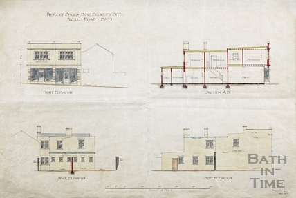 Proposed shops, Bear Brewery site, Bear Flat (sections & elevations) 1907