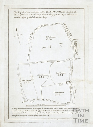 Plan of Bath Commons and site of intended reservoir c.1800?