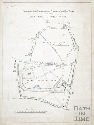 Draft plan of the estate belonging to the Freemen of Bath (Bath Commons - Royal Victoria Park) [draft of Plan #35] 1875