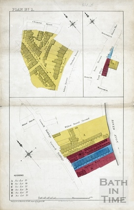 Sales plan for Margaret's Hill area; York Place, London Road area; Chatham Row / Cornwell Buildings area - Lots 73-78 - Plan No.1 pre-1872