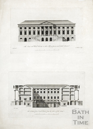 East and west front to the Abbey Green and Stall Street, and section from east to west from the floor of the bath (King's and Queen's Baths, Pump Room) c.1781