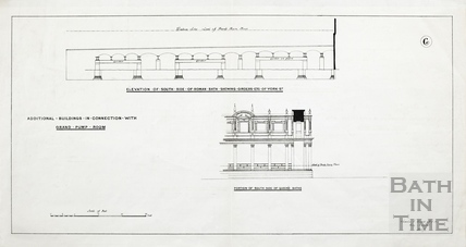 Additional buildings in connection with Grand Pump Room (elevation of south side of Roman baths & detail of portion of south side of Queen's Baths) - Plan 6 1880?
