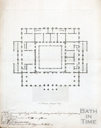 A plan of the principal story (King's and Queen's Bath, Pump Rooms) c.1781