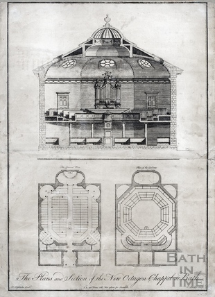 Plans and section of the new Octagon Chapel 1766