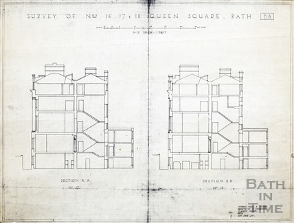 Survey of Nos 16, 17 & 18 Queen Square (section AA through 17, BB through 18) 19th June 1930
