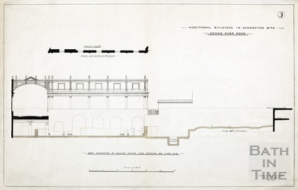 Additional buildings in connection with Grand Pump Room (east elevation of Queen's Bath and section on line CD) - Plan 5 1880?
