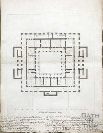 A plan of the basement story (King's and Queen's Bath, Pump Rooms) c.1781