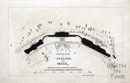 Block plan of Prior Park showing flight of steps to portico 1905
