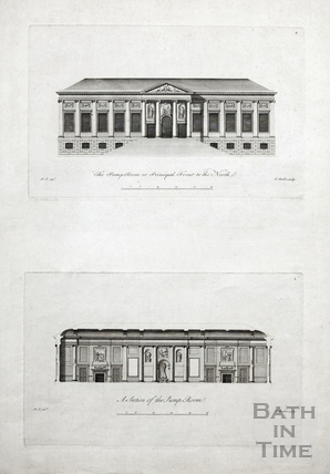 Principal front to the north and section of the Pump Room c.1781