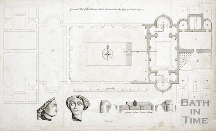 Plan of ancient Roman bath found 1755