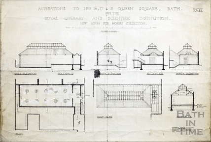 Alterations to no. 16, 17 & 18 Queen's Square for the BRLSI (elevations, sections, plans) (new room for Moore Collection) 19th march 1931