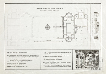 Plan of ancient Roman bath found 1755 (printed version of #84 & 85)