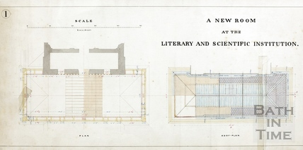 A new room at the Literary and Scientific Institute (2 plans, 2 sections, 2 elevations) (BRLSI) - Charles W Dymond 7th Aigist 1889