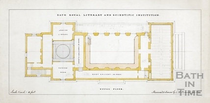 Bath Royal Literary and Scientific Institute -plan of upper floor in Terrace Walk (BRLSI) - C W Dymond July 1889