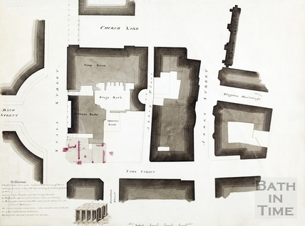 Plan highlighting Roman finds under site of current Roman baths shop -found during excavation for housing in 1825