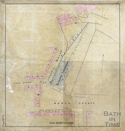 Plan of sewer pipe and Roman culvert location under Terrace Walk & Bath Royal Literary & Scientific Institution 3rd Aug 1884