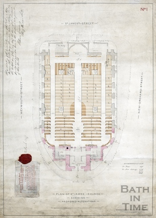 Ground floor plan of St James Church proposed alterations - Plan. no.1 - Manners & Gill Nov 1846