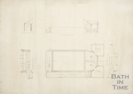 Bath Royal Literary and Scientific Institute. Plan and sections of upper floor of BRLSI (BRLSI) c.1830s?