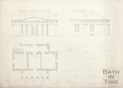 Bath Royal Literary and Scientific Institute. Ground floor and roof plan, front & side elevations of entrance to BRLSI c.1889?