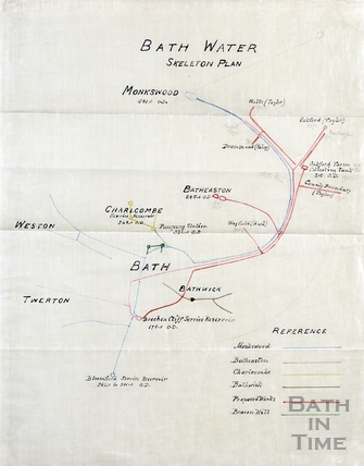 Bath Water skeleton plan - detail of pipe layout (1903?)