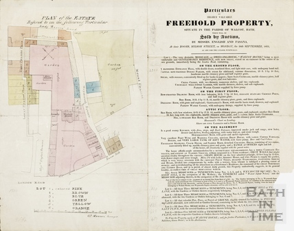 Plan and particulars of sale of land around Walcot House (Snow Hill, Weymouth Square & Pleasant Place) - GP Manners 1833