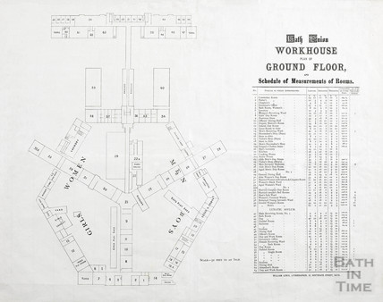 Ground floor plan of Bath Union Workhouse and lunatic wing post-1857