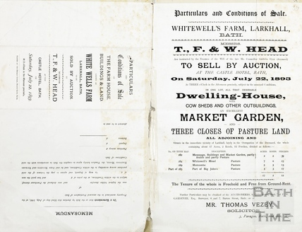 Particulars and conditions of sale of Whitewell's Farm, Larkhall July 22 1893