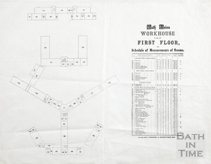 First floor plan of Bath Union Workhouse post-1857