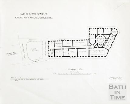 Baths development - Scheme no.1, Orange Grove site, basement plan (under Kingston Buildings and York Street) - Alfred J Taylor September 1914